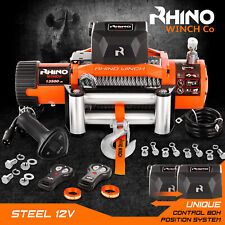 More details for electric recovery winch - 12v 13500lb - heavy duty steel cable, 4x4 car ~ rhino