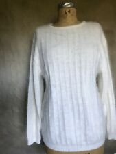 Women Fuzzy 35% Angora Sweater IVORY Casual Ribbed Crew Neck Pullover BELLDINI M