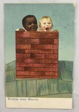 "1908 Postcard Black Americana ""Black and White"" Chimney Roof"