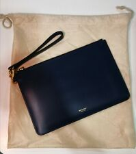 GENUINE Oroton Escape Navy Medium Leather Zip Pouch with strap (Near New)