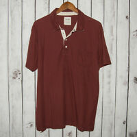 BILLY REID Men's Short Sleeve Polo Shirt Brick Red Cotton Sz XL