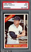 """1966 Topps #50 Mickey Mantle New York Yankees HOF PSA 9 """" SUPER SHARP CORNERS """""""