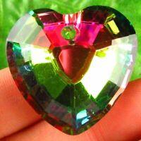 2pcs 33x33x12mm Faceted Rainbow Titanium Crystal Heart Pendant Bead S22520