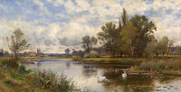 """perfact oil painting handpainted on canvas """" River Scene with Swans""""@NO3569"""