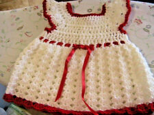 CHRISTMAS~VALENTINE'S WHITE SHELLS~RED & FLOWER TRIMS CROCHET BABY DRESS 0-6 mos