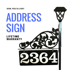 Driveway Marker Reflective Address Sign Doubled Sided Solar Light, Scroll & Pole