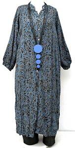 "PLUS SIZE BLUE TIGER PATTERN VERY LONG SHIRT-DRESS BUST UP TO 52"" L-XL-XXL"