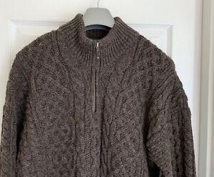 Orvis Brown Irish Fishermans Wool Sweater Mens Size  L