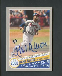 2019 Topps Heritage Real One Hammer's Greatest Hits Hank Aaron Signed AUTO 5/5