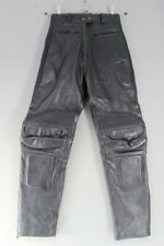 JTS BLACK LEATHER BIKER TROUSERS SIZE 10: WAIST 26 INCHES/INSIDE LEG 30 INCHES