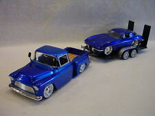 Trackside 1955 Chevy Pick-up & 1963 Stingray on a dual axle trailer 1:24th scale