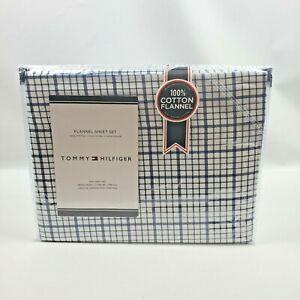 Tommy Hilfiger 4 Piece Blue White Heavyweight Cotton King Flannel Sheet Set