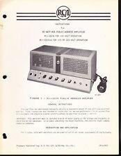RCA OP, INSTALLATION & SERVICE DATA for a RCA MI-12214 50 WATT PA AMPLIFIER