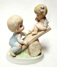 """Brother and Little Sister Figurine Playing Teeter Totter Homco Porcelain 4.5"""""""