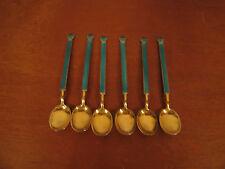 Vintage Sterling Silver Enamel David Andersen Norway Set of 6 Demitasse Spoons