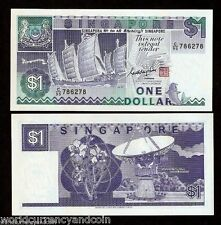 SINGAPORE 1 DOLLAR P18a 1987 SHIP FISH SATELLITE UNC CURRENCY MONEY BILL NOTE