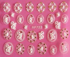 3D Nail Art Stickers Wrap Flower Glitter Butterfly Lace Crystal Rhinestone XF722