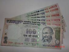 INDIA PAPER MONEY - 5 X RS 100/- OLD 'MG' NOTES - RAGHURAM G.RAJAN - 2016 # E1vi