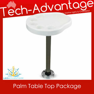 Boat White Removable PALM TABLE TOP with Post & Base, Inbuilt Drink Cup Holders