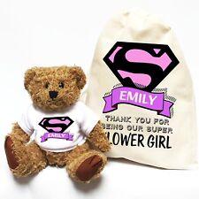 Wedding Thank You Gift   Superhero Flower Girl   Personalised Teddy Bear