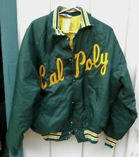 Vintage Men'S Cal Poly Green Nylon Snap Button Jacket Size Large By Don Alleson