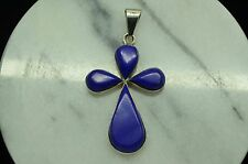 925 STERLING SILVER BLUE LAPIS LARGE CROSS PENDANT CHARM #A3952