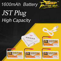 4Pcs ZOP Power 3.7V 1600mAh Lipo Battery JST Plug 4 in 1 Charger for RC Drone