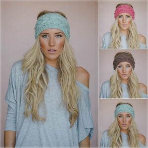 Women Ladies Winter Crochet Knit Knitted Wool Headband Headwrap Reduced to clear
