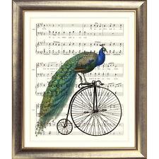 ART PRINT ORIGINAL VINTAGE MUSIC SHEET Page PEACOCK BICYCLE OLD BIKE poster art