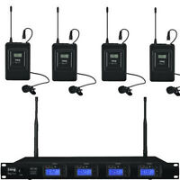 Quad Wireless Microphone System With 4 x Tie Clip Mics