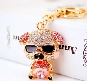 Fashion Women Pig Keychain Crystal Keyring Handbag Charm