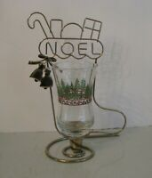 Christmas Table Top Home Interiors Wire NOEL Stocking w Holiday Votive Vintage