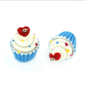 4 Cupcake Charms 3D Resin With Silver Tone Loop - Blue and White - K117 NEW2