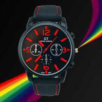 UK NEW Mens Watches Quartz Stainless Steel Analog Rubber Sports Wrist Watch