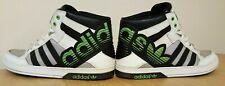 Raro Adidas Hard Court Hi Top de Superdry UK 8.5 Negro Verde Blanco Con Cordones Para Hombre