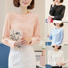 New Long Sleeve Lady Office Shirts Korea Fashion Lace Hollow Women Top Blouse