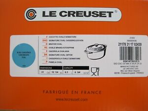 NEW IN BOX LE CREUSET SIGNATURE CARIBBEAN TEAL 6.75 QUART OVAL OVEN WITH LID