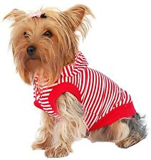 Anima Red and White Short Sleeve Poly Cotton Hoodie with Rhinestone Logo, Large