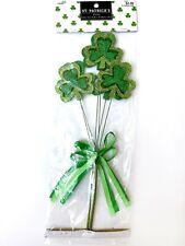 2 Shamrock St. Patrick's Day Clover Pick Decoration Green Wreath Bouquet Patty's
