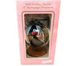 """Vintage 1998 Barbie Holiday Christmas Decoupage Ornament 4"""" Globe Wooden Stand"""
