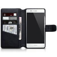Genuine Real Leather Wallet Case for Huawei P9 Lite - Black