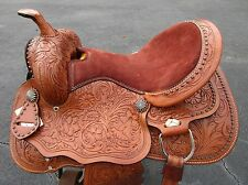 15 16 BARREL RACING TRAIL SHOW PLEASURE TOOLED LEATHER WESTERN HORSE SADDLE TACK