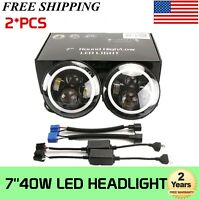 "Pair 7"" Inch LED Headlights Halo Angle Eye Ring For Jeep Wrangler JK TJ CJ YJ LJ"