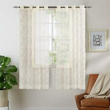 Rose Lace Sheer Curtains Window Drapes for Bedroom for Living Room Grommet Retro
