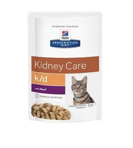 Hills Kidney Care K/D Beef Wet Cat Fiod 12x 85g Pouches FREE POSTAGE