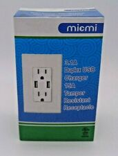 USB Charger 3.1A socket Dual Duplex Outlet Receptacle 15Amp w/ wall plate 4 pack