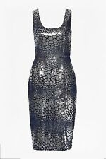 BNWT 14 FRENCH CONNECTION CROC FLOCK SEQUIN PARTY COCKTAIL DRESS SILVER BLUE