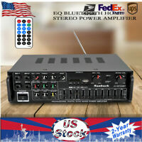 110V 2 CHANNEL EQ Bluetooth Stereo Power Amplifier USB SD Remote HOT SALE new