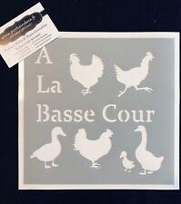 Pochoir Adhésif Réutilisable 20 x 20 cm Planche A la Basse cour, coq, poules