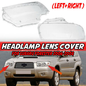 Pair Clear Headlight Lens Headlamp Lampshade Cover For Subaru Forester 2006-2008